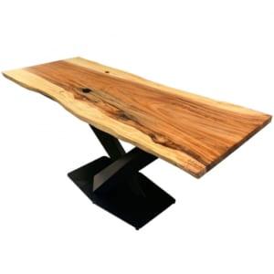 Bàn gỗ Me Tây Nguyên Tấm 1m8x75cm chân sắt sơn tĩnh điện BMT059