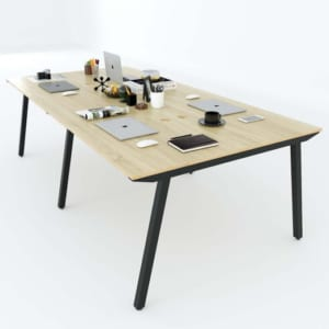 Bàn cụm 4 chỗ ngồi 240x120cm gỗ Plywood hệ PLY chân lắp ráp HBPL012