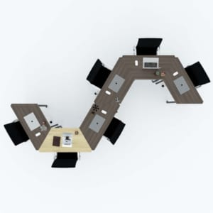Bàn cụm 6 gỗ Plywood hệ Lego chân sắt lắp ráp HBLG009