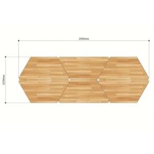 Bàn cụm 6 gỗ Plywood hệ Lego chân sắt lắp ráp HBLG008