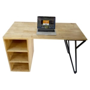 Bàn làm việc kết hợp chân kệ gỗ cao su 120x60x75cm BD68070