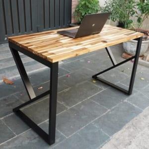 Bàn làm việc 120x60cm gỗ tràm hệ Wooden  chân Kconcept lắp ráp HBWD020