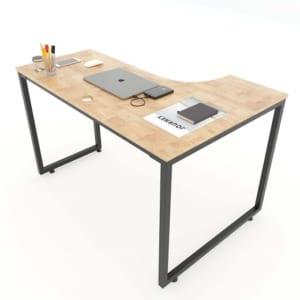 Bàn cụm 4 mặt khuyết 240x140cm gỗ cao su hệ Minimal HBMN018