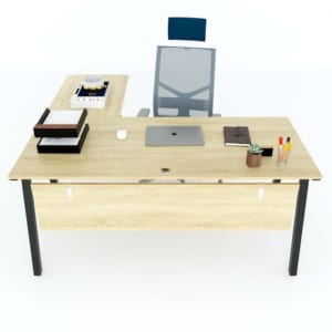 Bàn làm việc chữ L 160x150cm gỗ Plywood hệ PLY chân sắt lắp ráp HBPL017