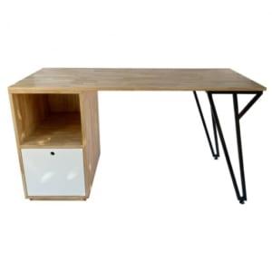 Bàm làm việc kết hợp chân tủ gỗ cao su 140x60x75cm BD68071