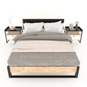 Giường ngủ Mony gỗ cao su khung sắt lắp ráp GN68028