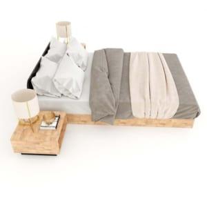 Giường ngủ bo viền gỗ cao su GN68030