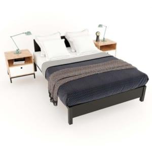 Giường ngủ Ferrro  gỗ cao su khung sắt lắp ráp GN68031