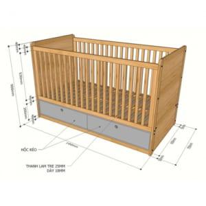 Giường nôi trẻ em gỗ tre 2 hộc kéo GTE68004