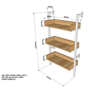 Kệ áp tường 3 tầng gỗ cao su khung sắt KTT68018
