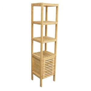 BS005 - Kệ gỗ tre ép 5 tầng BSHELF có tủ  (34x33x145cm)