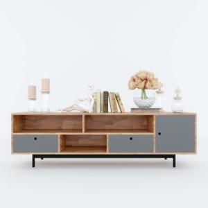 Kệ tivi phòng khách gỗ cao su 180x40x53cm KTV68053