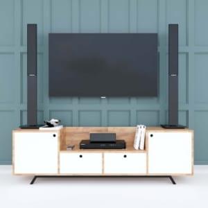 Kệ tivi phòng khách gỗ cao su chân sắt 160x36x48cm KTV68060