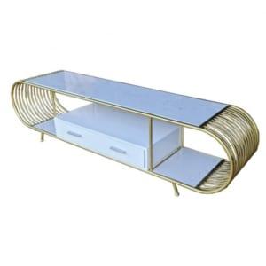 Kệ tivi sang trọng có hộc tủ mặt đá khung vàng đồng KTV68066