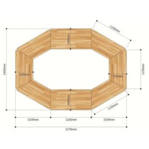 Module Bàn họp 8 chỗ ngồi gỗ cao su hệ Lego chân lắp ráp HBLG013