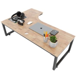 Bàn ngồi bệt mặt khuyết 120x70cm gỗ cao su chân sắt lắp ráp SPD68155