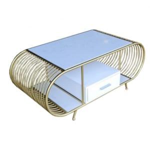 Bàn sofa mặt đá trắng khung màu đồng có hộc tủ TT68120